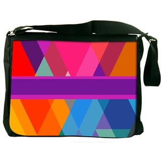 Snoogg Stripe Over Rhombuses 2795 Digitally Printed Laptop Messenger  Bag