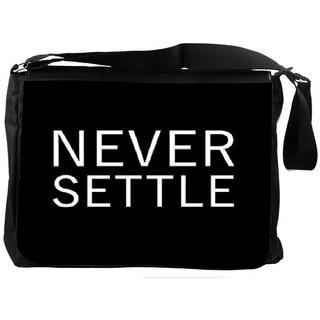 Snoogg Never Settle Designer Laptop Messenger Bag