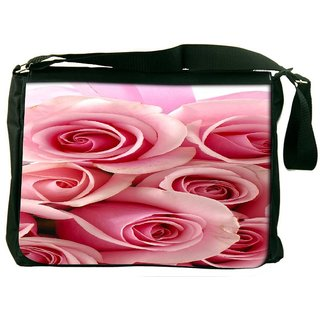 Snoogg Pink Flower Digitally Printed Laptop Messenger  Bag