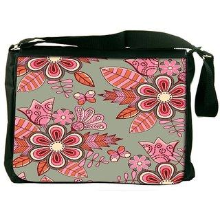 Snoogg Abstract Floral Background Designer Laptop Messenger Bag