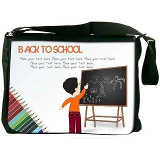 Snoogg Cute Boy Standing In Front Of Blackboard Designer Laptop Messenger Bag