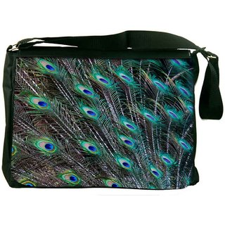 Snoogg Peacock Feathers Picture Designer Laptop Messenger Bag