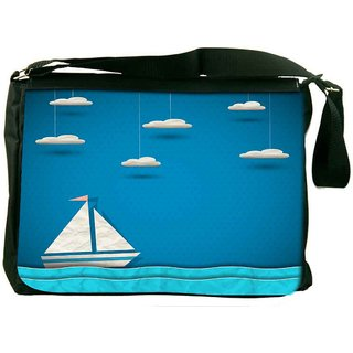 Snoogg Sailing Boat And Clouds Digitally Printed Laptop Messenger  Bag