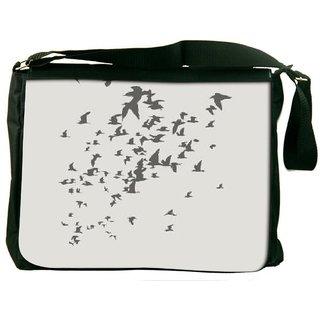 Snoogg Birds Pattern Grey 2914 Digitally Printed Laptop Messenger  Bag