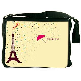 Snoogg Paris In The Rains Designer Laptop Messenger Bag