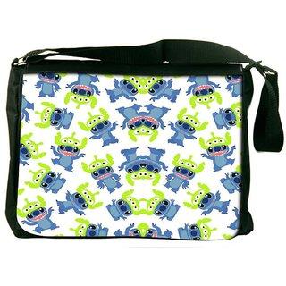 Snoogg Alien Blue Cartoon Cute Designer Laptop Messenger Bag