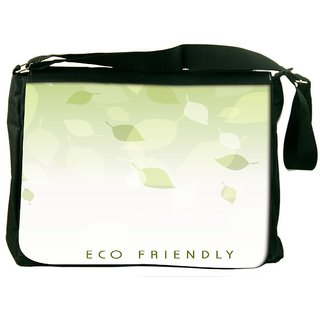 Snoogg Abstract Nature Background With Fresh Green Leaves Designer Laptop Messenger Bag
