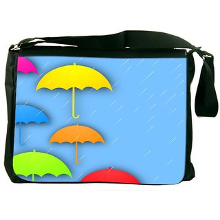 Snoogg Abstract Rainy Season Background With Colorful Umbrella And Raindrops Designer Laptop Messenger Bag