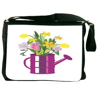 Snoogg Abstract Spring Illustration With Lots Of Flowers Designer Laptop Messenger Bag