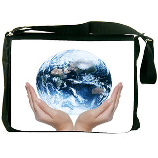 Snoogg Earth Globe Designer Laptop Messenger Bag