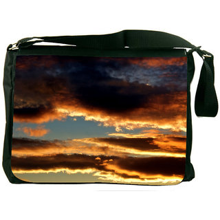 Snoogg Evening Clouds In Sky Background Digitally Printed Laptop Messenger  Bag