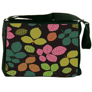 Snoogg Seamless Pattern With Leaf Designer Laptop Messenger Bag