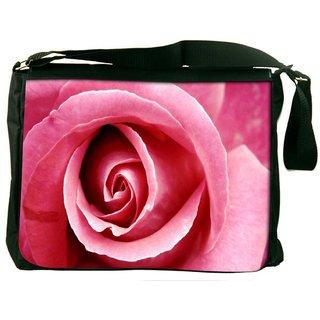 Snoogg Pink Rose Digitally Printed Laptop Messenger  Bag