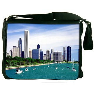 Snoogg Day City Digitally Printed Laptop Messenger  Bag