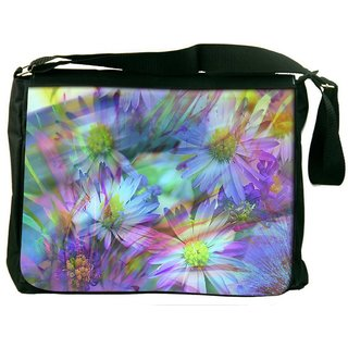 Snoogg Colorful Petals Digitally Printed Laptop Messenger  Bag