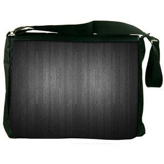 Snoogg Plain Black Digitally Printed Laptop Messenger  Bag