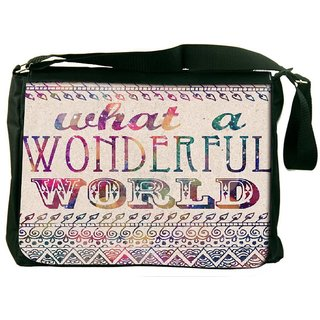Snoogg What A Wonderful World Designer Laptop Messenger Bag