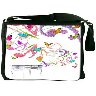 Snoogg Floral Background Digitally Printed Laptop Messenger  Bag