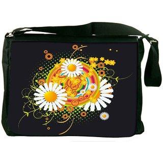 Snoogg Floral Vector Abstract Designer Laptop Messenger Bag