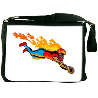 Snoogg Football Touchdown Flames Designer Laptop Messenger Bag