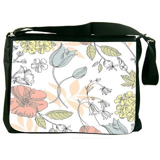 Snoogg Seamless Vintage Flower Pattern Designer Laptop Messenger Bag