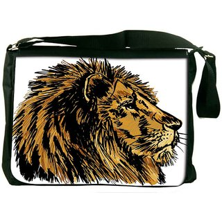 Snoogg Sketch Of A Big Male African Lion Vector Illustration Digitally Printed Laptop Messenger  Bag