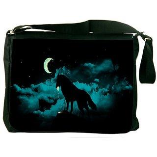 Snoogg Nite Wolf Digitally Printed Laptop Messenger  Bag