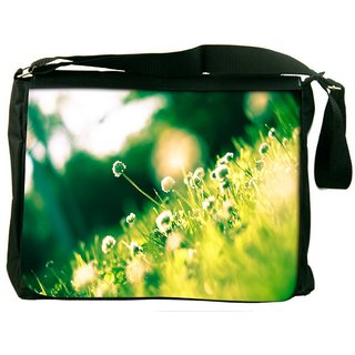 Snoogg Small Floral In Green Grass Digitally Printed Laptop Messenger  Bag