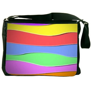 Snoogg Zoom Wave 2419 Digitally Printed Laptop Messenger  Bag