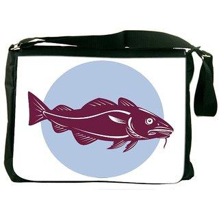 Snoogg Atlantic Codfish Retro Designer Laptop Messenger Bag