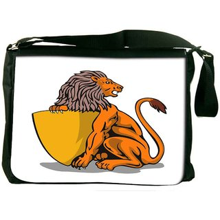 Snoogg Lion Shield Retro Designer Laptop Messenger Bag