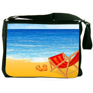 Snoogg Tropical Beach Vector Background Designer Laptop Messenger Bag