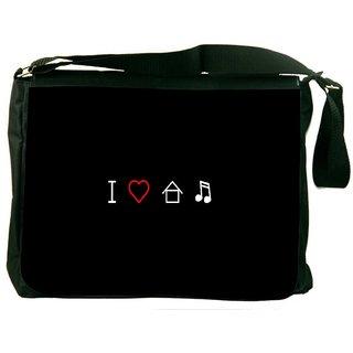 Snoogg I Love House Music Digitally Printed Laptop Messenger  Bag