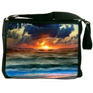 Snoogg Sunset In Sea Digitally Printed Laptop Messenger  Bag