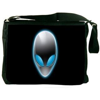 Snoogg Alien Mask Digitally Printed Laptop Messenger  Bag