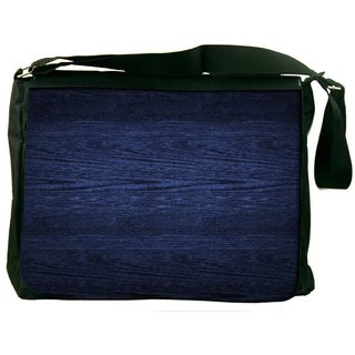 Snoogg Dark Blue Wood Wall Digitally Printed Laptop Messenger  Bag