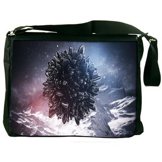 Snoogg Black Circle With Sharp Edges Digitally Printed Laptop Messenger  Bag