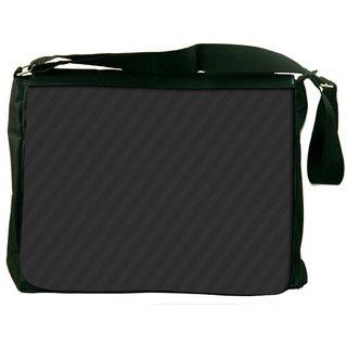 Snoogg Black Diagonal Stripes Digitally Printed Laptop Messenger  Bag