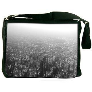 Snoogg Black White London Digitally Printed Laptop Messenger  Bag