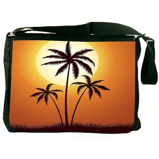 Snoogg Vector Summer Illustration With Palm Trees Designer Laptop Messenger Bag