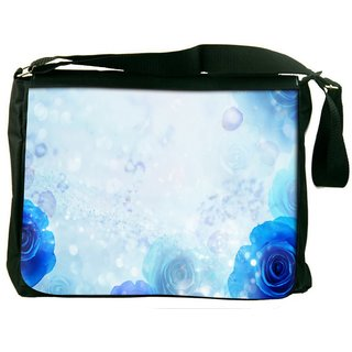 Snoogg Blue Roses Digitally Printed Laptop Messenger  Bag
