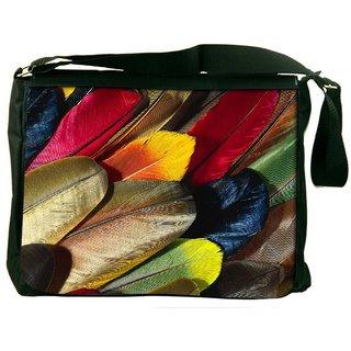 Snoogg Plumas De Colores Digitally Printed Laptop Messenger  Bag