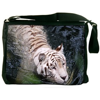 Snoogg White Tiger Digitally Printed Laptop Messenger  Bag