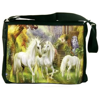 Snoogg Horses Art Large Digitally Printed Laptop Messenger  Bag