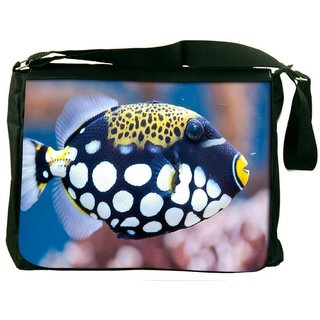 Snoogg Fish Animal Digitally Printed Laptop Messenger  Bag