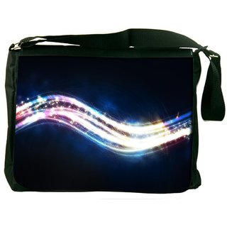 Snoogg Shiny Wave Digitally Printed Laptop Messenger  Bag