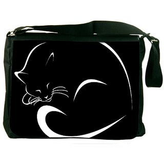 Snoogg Sleeping Cat Minimalistic Digitally Printed Laptop Messenger  Bag