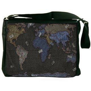 Snoogg Black And Golden Map Digitally Printed Laptop Messenger  Bag