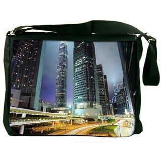 Snoogg Road Trips At Night Digitally Printed Laptop Messenger  Bag