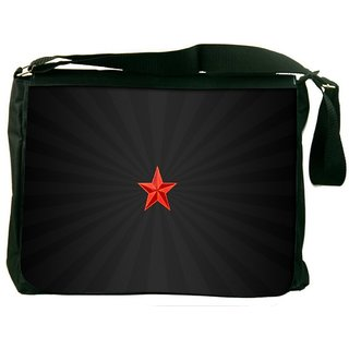 Snoogg Red Star Digitally Printed Laptop Messenger  Bag